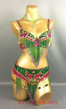 3pics handmade beaded belly dance costume set bra top hip scarf 5 color