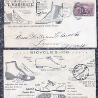 Cool 1893 ADVERTISING COVER Shoes BASEBALL TENNIS BICYCLE Nice Graphics Mass.