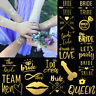 Team Bride Squad Tribe Temporary Tattoos Gold Funky Hen Party Night Wedding
