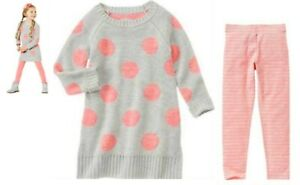 NEW Gymboree POLAR PINK Sweater Polka Dot  Dress & Stripe Leggings Set Size 7