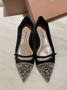 Pre Owned MIU MIU Classic Crystal Flat Black Size 38.5