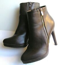 Novo Danza Women's Shoes High Heel Platform Boots Brown w. Zip Closure Size 7