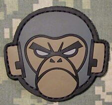 ANGRY MONKEY HEAD FACE RUBBER PVC MORALE ACU DARK VELCRO® BRAND FASTENER PATCH