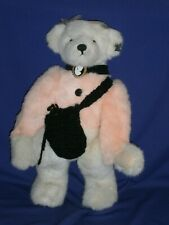 Vintage Annette Funicello Bear w/Cameo & Crocheted Bag Pink & White 16in c1990s