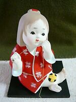 Hakata Doll, Girl Trying To Mend Something, Japanese Hakata Association Sticker