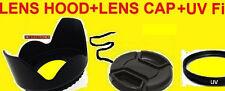 FLOWER HOOD+UV FILTER+LENS CAP 58mm AptTo CAMERA CANON 18-55mm 55-250mm 90-300mm
