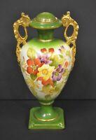 "Antique Victorian Ceramic Urn Floral Design Gold Painted handles & Trim 12""T LID"