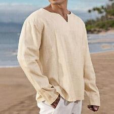 Men's Clothing - Beige Breathable Beach Woven Natural Hemp Shirt - XL