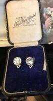 Vintage Art Deco Single Stone Diamanté Clip On Earrings Silver Tone