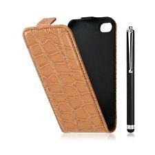 Housse étui coque style crocodile pour Apple Iphone 4/4S + stylet luxe