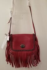 NEW WITH TAGS..Coach Dakotah Red Leather Crossbody Whiplash Fringe Purse F33939