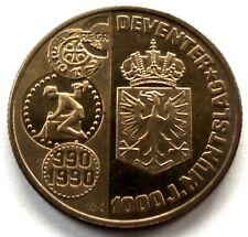 NETHERLANDS DEVENTER 1 ECU 1990 UNC X#20 26mm Brass. NN5.3