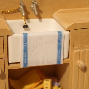 Dolls House Miniature 1/12th Scale Tea Towel - Blue (466)