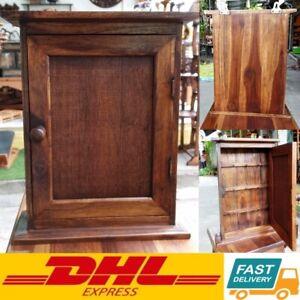 "13.5"" Vintage Style Teak Wood Key Holder Cabinet Rack Storage Box 9 Hooks DHL"