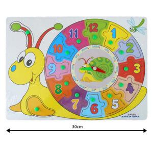 Kids Children Peg Wooden First Clock Teach Time Jigsaw Puzzle Toy Baby Devpt.NEW