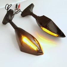 2stk  Motorrad Verkleidungsspiegel Paar Schwarz mit LED Blinker Universal