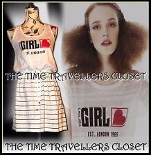 River Island Ragazza Chelsea Bianco Nero Rosso Stripe VINTAGE 80s Mini Abito UK10 12