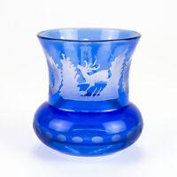 Egermann Blue Cut to Clear Toothpick Holder Vintage Bohemia Cut Stag Deer Castle
