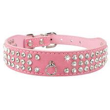 Suede Leather Pet Dog Collars Bling 3 Row Rhinestones Diamonds 4 Colors XS S M L