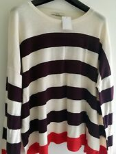 Women's Ladies Top Blouse Sweater Cream Aubergine Striped Plus Size 24 By George