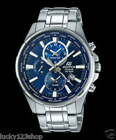 EFR-304D-2A Blue Casio Edifice Men's Watch Steel Band Analog Brand-New100m