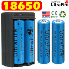 4PCS 18650 UltraFire Battery 3.7v Rechargeable Batteries + Dual Charger US Stock