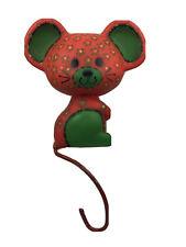 Vintage Hallmark Calico Mouse Metal Christmas Stocking Hanger Red & Green