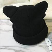 Women Cat Ear Warm Winter Knitted Beanie Crochet Braided Knit Ski Hat Cap HO