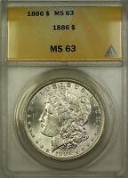 1886 Morgan Silver Dollar $1 Coin ANACS MS-63 RL (A)