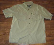 Natural Gear Mens Short-Sleeve Button-Front Fishing Shirt, Green, Size L, EUC