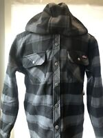 🔥 Dickies Gray Plaid Hooded Polyester Bonded Over Shirt Work Jacket size S