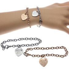 Women's Ladies Stainless Steel Charm Heart Dangle Chain Bracelet Bangle US Stock
