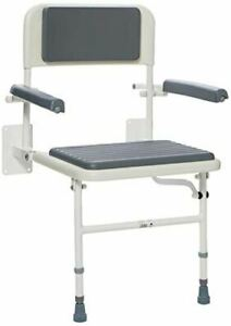 Days Wall Mounted Folding Padded Shower Seat with Back and Arms