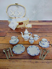 DELTON 19Pc CHILDRENS Porcelain Blue Forget Me Not TEA TIME PLAY SET & BASKET!