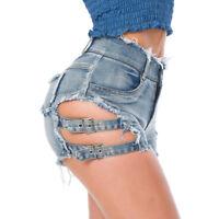 Sexy  Mini Hot Pants Jeans Ripped Frayed Denim Shorts High Waist Bandage Summer