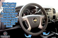 2009-2012 Chevy Traverse -Black Leather Steering Wheel Cover w/Needle & Thread