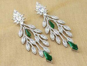Exclusive Baguette Zirconia Emerald Dangle Earrings 24 GE 20