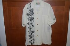CASUAL Button Front Shirt Off White Size L Men 100% Rayon by Paradise Found NWT