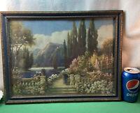 VTG 1920's Lyn Robertson ROMANCE LANE Mountain Lake Cottage Flower Antique Frame
