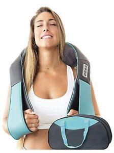 Shiatsu Neck & Back Massager with Heat Deep Kneading Massage Pillow (Blue)(+Bag)