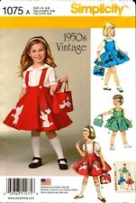 Simplicity Sewing Pattern 1075 1950s Vintage Childs Jumper Skirt Bag 3-8 NEW