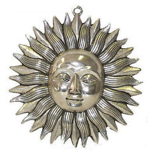 **Beautiful** Silver Coloured Metal Indian Sun God Wall Plaque Mask 19cm