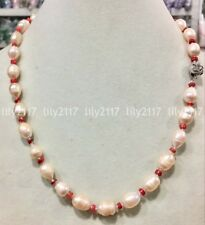Natural 10-11mm freshwater cultured rice pink pearl red coral necklace 20'' AAA