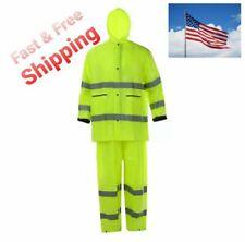 Hi-Vis Lime Class 2 Safety Rain Suit Reflective Rain Jacket w Hood and Pants