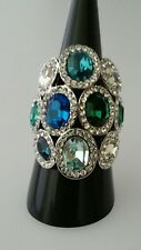 "Ring ""Blue Crystals"" Gr.17 (54) versilbert u. rhod. Kristalle Neu WUNDERSCHÖN"