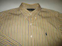 Ralph Lauren Mens Large Yellow Blue Stripe Long Sleeve Button Down Dress Shirt