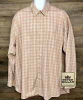 Peter Millar Men Cotton Orange Brown Plaid Long Sleeve Button Down Shirt XXL 2XL