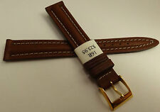ZRC Made in France Brown Padded Water Resistant 16mm Watch Band Gold Tone Buckle