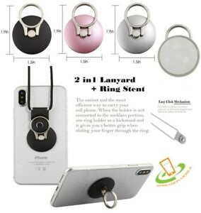 Finger Ring Stand Kickstand Holder Lanyard For iPhone Samsung Universal Phone