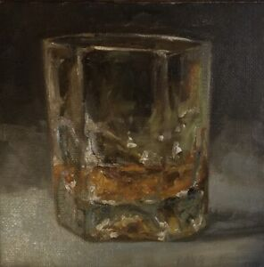 Glass Of Whisky still life Original Oil Daily Painting